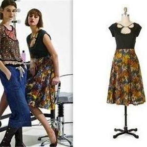 Anthro Viola Patternmaker Black Floral Dress 8